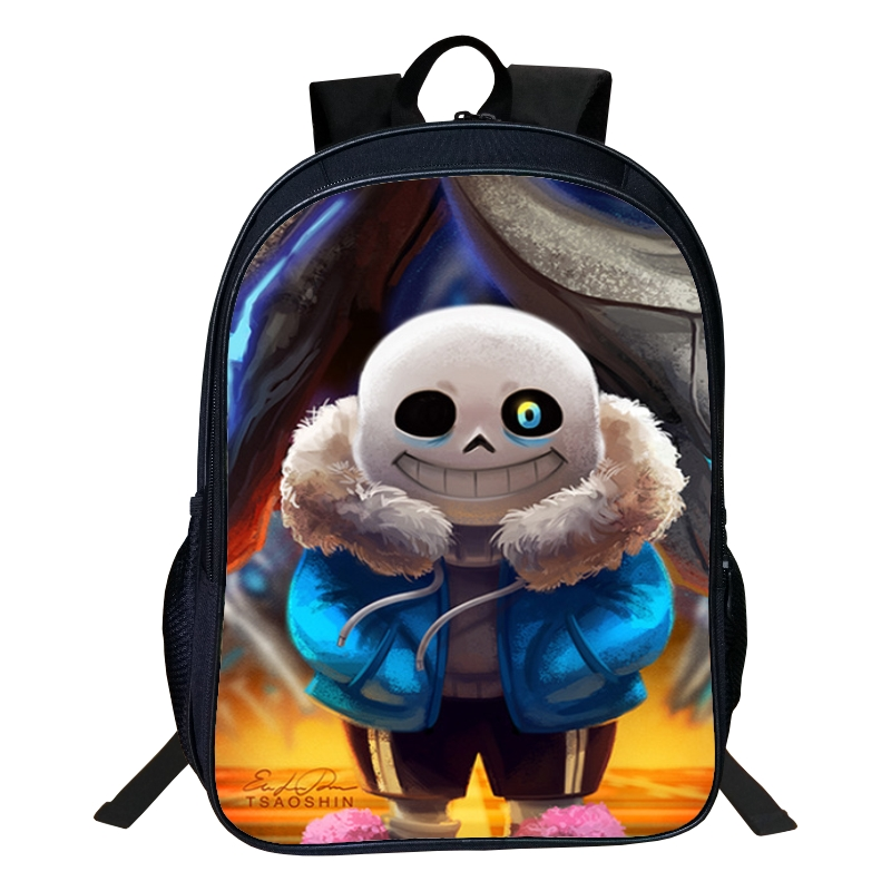 Hot Sale Polyester 16-inches Black Printing Cartoon Undertale Backpack for Boys Schoolbag Kids School Bags for Children Book Bag<br>