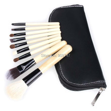 Professional 9 PCS natural hair Cosmetics Makeup Brushes Set with Black Zipper Leather Bag, Brand Make Up Brushes