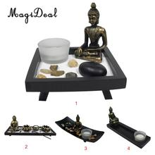 MagiDeal Zen Sand Garden Tea Light Holder Feng Shui Buddhist Candle Incense Decor Traditional Chiese Favor(China)