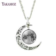 Classical Grey Universe Design Pendant Necklaces Moonlight Gem Series Fashion Men/Women Jewery Silver Plated Jewelry(China)