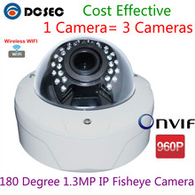 DC Security 180 degree 1.3MP 960P Wireless WIFI IP fisheye CCD camera with 30pcs IR leds NVR Videoregistratori IP(China)