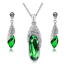 2017 New Arrival Crystal Drop Earrings Crystal Necklace Trendy style Women Fashion Jewelry Set Unique Wedding Necklace Set