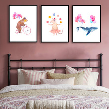 Watercolor Whale Bear Mouse Minimalism Art Canvas Poster Print Painting Picture Modern Home Room Decor No Frame Free Shipping