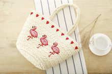 straw knitted flamingo embroidery women handbag shopping clutch tote beach bag