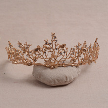 Baroque Vintage Gold Flower Bridal Crown Charming Golden Leaves Rhinestone Tiaras for Women Wedding Diadem Hair Accessories