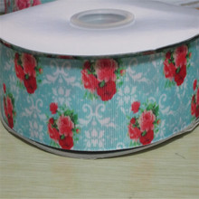 16 22 25 38 50 75 mm width rose flower Printed Grosgrain Ribbon XF102(China)