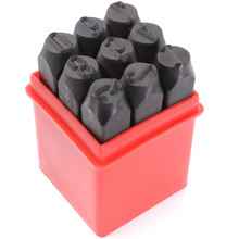 MEOF 9PCS Stamps Number Set Punch Steel Metal Tool Case Craft Hot 2/2.5/3/4/5/6/8/10/12.5mm