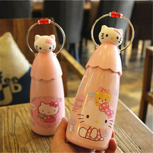 JOUDOO Kawaii Hello Kitty Thermos Pink 350ml Stainless Steel Vacuum Flasks Coffee Mug Travel Tumbler Water Bottle(China)