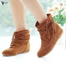2017 New Women Faux Suede-Leather Fringes Heels Ankle Boots Comfort Shoes Fashion Boots Women Boots Sapatos femininos Tassel