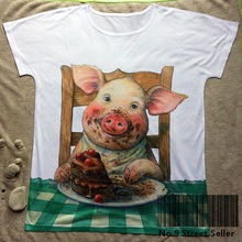 Track Ship+New Vintage Retro T-shirt Top Tee White Pig Piglet Charlotte Chocolate Birthday Cake Dining Table 0452