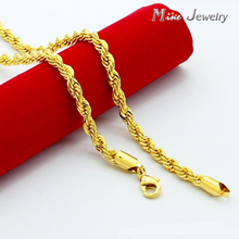 High Quality 24K Gold Necklaces Jewelry Wholesale Chain Men Necklaces(China)