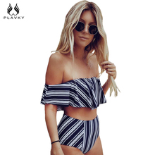 PLAVKY 2017 Sexy White Black Striped High Waist Biquini Ruffled Swim Bathing Suit Swimsuit Swimwear Women Off Shoulder Bikini(China)