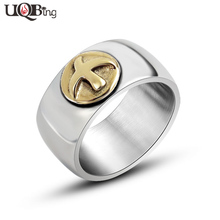 Brand Fashion Jewelry Men's Rings Vintage Stainless Steel Gold Fly Bird Rings anillos Jewelry(China)