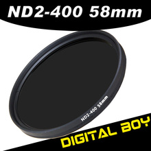 1pcs Digital Boy 58mm slim fader ND filter adjustable variable neutral density ND2 to ND400 for Canon 18-55 55-200 Nikon 50/1.4G