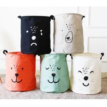 2017 Cute bear Kids Toys bag bins Organizer Large cloth Laundry basket barrel Sundries toy Box Storage Bags container decor