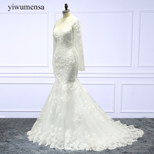 Buy yiwumensa vestido-de-noiva Charming mermaid wedding dress 2018 lace appliques Long Sleeves wedding dresses Custom made gowns new for $199.00 in AliExpress store