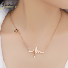New Arrival Fashion ECG Pendants Love Heart Necklace For Women Wedding & Engagement Jewelry Girl Gift Collares(China)