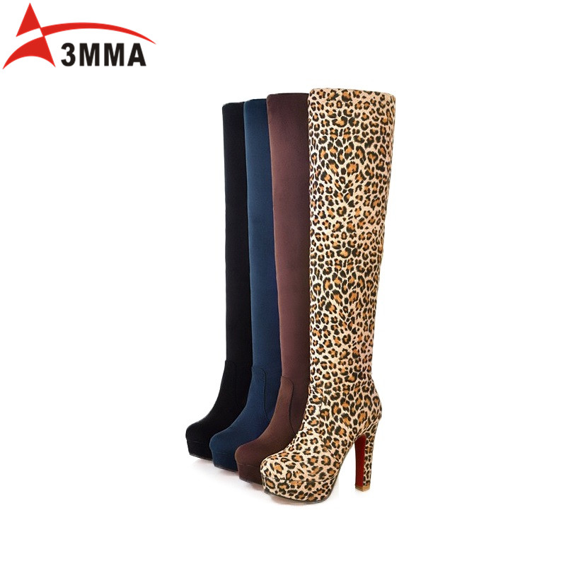 3MMA 2017 Suede Womens Thigh High Heel Boots Platform Thick Heels Sexy Fashion Over The Knee Boots Keep Warm With Fur Long Boots<br><br>Aliexpress