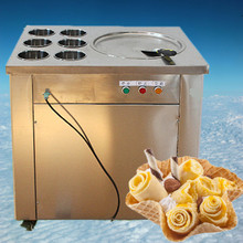 free shipping110V one pan and six buckets fried ice machine fried ice cream roll machine fried ice cream machine(China)