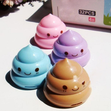1pc Funny Emoji Poop Pencil Sharpener Double Hole Stationery For Student Teens
