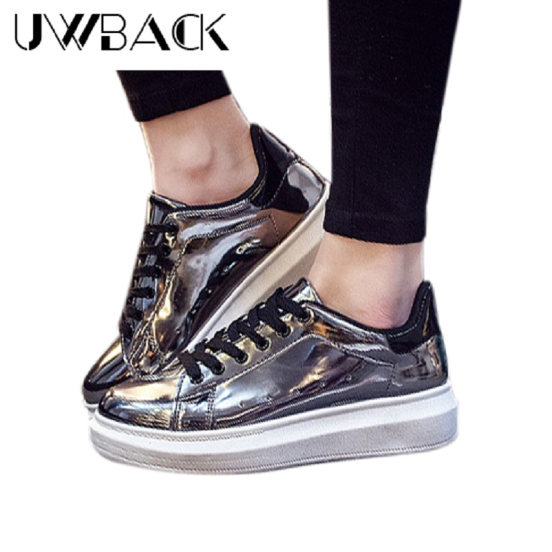 Uwback 2017 New Spring Women Flat Shoes Round Toe Platform Glossy Shoes Plus Size Comfort Gold/Gun Casual Lady Schoenen XJ131<br><br>Aliexpress