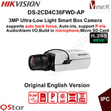 Hikvision 3MP H.265 Ultra-Low Light Smart Security IP Box Camera DS-2CD4C36FWD-AP Auto-iris auto back focus P-iris CCTV Camera