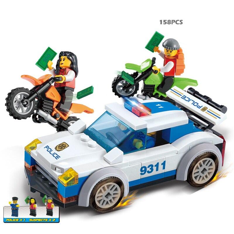 158pcs DIY eductional plastic Bricks Building Blocks Police chase bandit car compatible with legoe city Enlighten children toys<br><br>Aliexpress