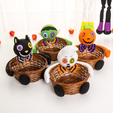 2017 fashion Colorful Halloween Witches Ghosts Bats Pumpkins Candy Basket Party Storage Basket Gift Home & Kitchen decoration(China)