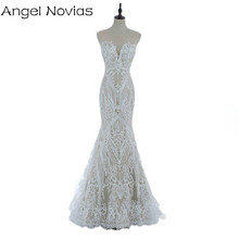 Angel Novias Long Bohemian Style Embroidery Lace Mermaid Wedding Dresses 2017 Boho Bridal Gowns Vestidos De Noiva De Luxo 2017(China)