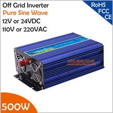 500W Off Grid Inverter, 12V/24V DC to AC110V/220V Pure Sine Wave Inverter, Surge Power 1000W Inverter for Solar or Wind System