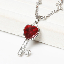New Fashion Women Vintage Rhinestone Love Heart Key Pendants Necklaces Charm Fine Jewelry Drop Shipping NL-0670