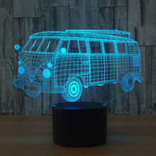 Cool Bus Bluetooth Speaker Cartoon Car Led 3D Nightlights Colorful  Music 3D Lamp Usb Indoor Lights For Kid's Christmas Gift