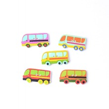 Free Shipping Retail 10Pcs Random Mixed Lovely Bus Pattern 2 Holes Wood Buttons Sewing Scrapbooking 30x16mm