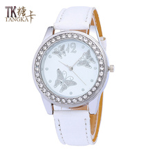 Classic minimalist leather watch band Ladies girl crystal butterfly digital dial clock Multi-color optional Fashion woman watch