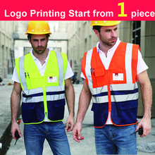 SPARDWEAR Hi vis two tone safety mesh vest waistcoat printing logo reflective security vest blue vest free shipping