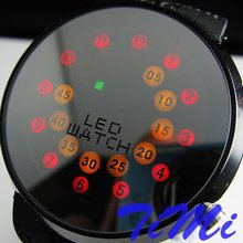 !!!Creative Mrror face LED Dot Matrix Men's Sport Watch(China)