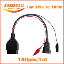 100pcs DHL Free for Fiat 3 Pin Alfa Lancia to 16 Pin OBD2 obd-II connector Adapter Auto Car Cable obd fiat 3pin Diagnostic Cable(China)