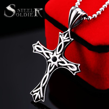 Steel solider new style stainless steel cross pendant necklace for men titanium steel jewelry(China)
