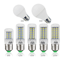 Super E27 E14 220V SMD 5730 LED Lamp 3w 5W 9w 10W 12w 15W 20w 25W AC 230V LED Corn Bulb light Chandelier Spotlight