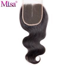 Mi Lisa Hair Body Wave 4x4 Lace Closure Middle Part Remy Human Hair 130% Density Natural Color 1B Free Shipping Can Be Dyed Well
