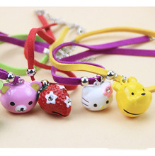 12pcs/lot Pet Cat Dog Collar Necklace Leather Doggy Puppy DIY Cartoon Pendants Small Animal Necklet Ring Bell Ornaments CW-80133