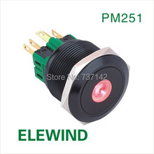 ELEWIND 25mm Black alluminum Dot illuminated Latching button switch(PM251F-11ZD/R/12V/A)