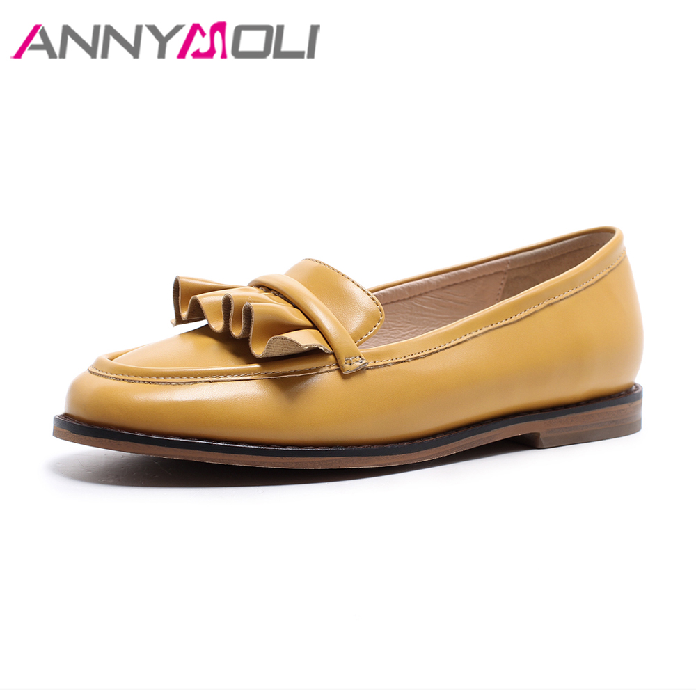 ANNYMOLI Shoes Women Loafers Ruffles Flat Shoes Yellow 2018 Spring Footwear Female Round Toe Boat Shoes Pink Moccasins Black<br>