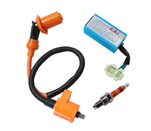 Performance Racking Round Ac Fired 6 Pins Cdi + Ignition Coil + 3 Elecrode Spark Plug For Gy6 50cc 125cc 139QMB 152QMI 8Z644