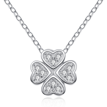 100% S925 Sterling Silver Good Lucky Four Clover and Heart Love Pendant Necklace AAA Australia Cubic Zirconia For Women Gift