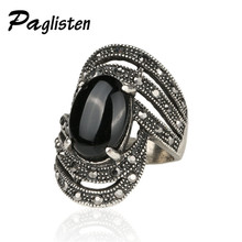 New Retro Big Black / Red / Big Green Imitation Gemstone Ring Antique Silver Mosaic Crystal Irregular Rings Female