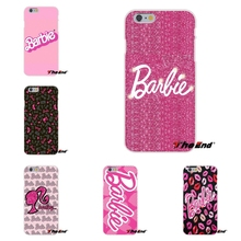 Kawaii Pink Barbie Art Printing Soft Silicone TPU Transparent Cover Case For iPhone 4 4S 5 5C SE 6 6S 7 Plus