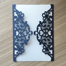 50pcs/lot Excellent Design Glossy paper Thanks Giving Birthday Greeting Invitation Card Lace design wedding invitation cards(China)