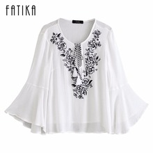 FATIKA 2017 New Fashion Women Sweet Lace Up Striped Shirts Butterfly Sleeve Blouses Ladies Casual Embroidery V Neck Loose Tops(China)