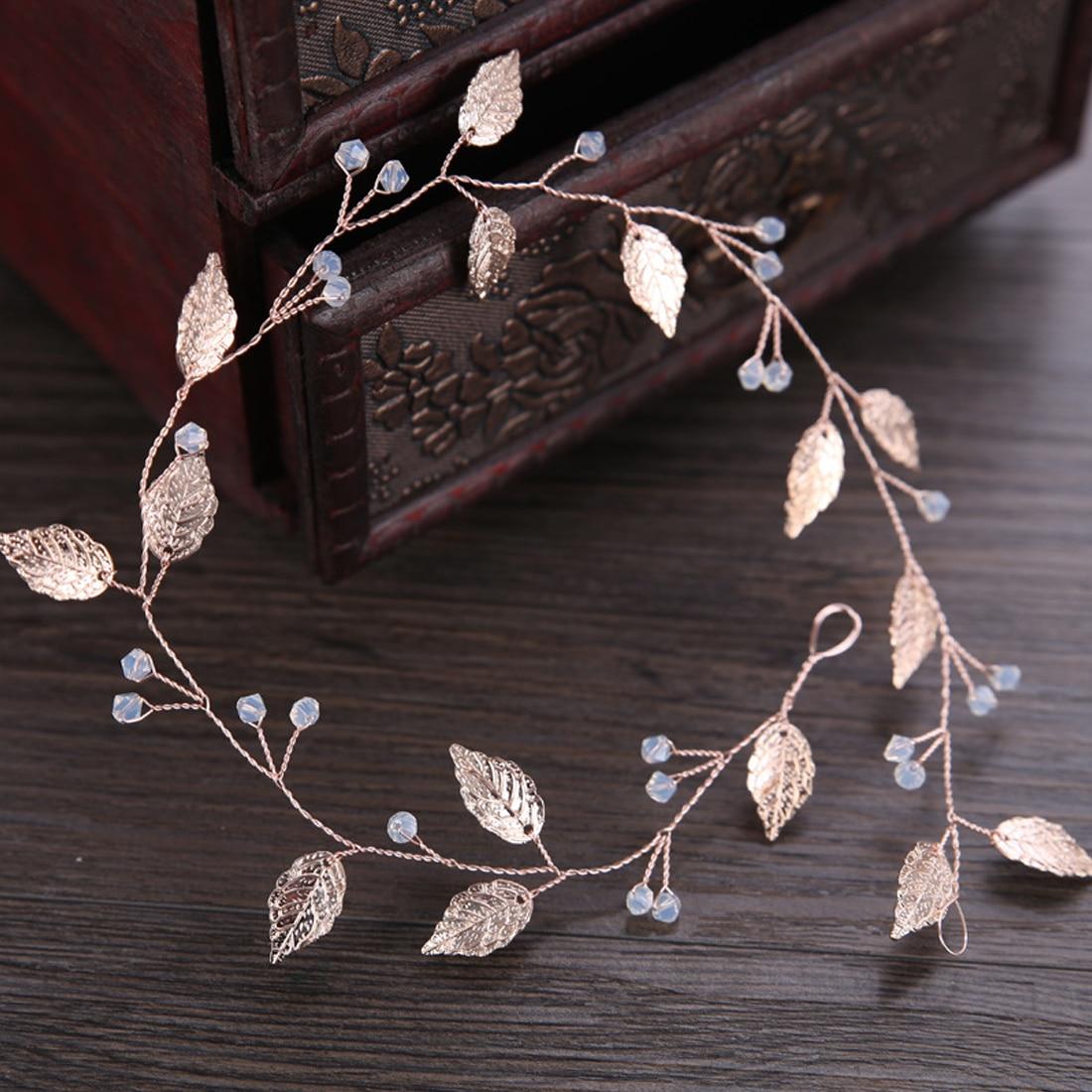 Diadema con hojas de oro rosa, Tiara para cabello de cristal Boda